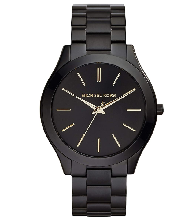 A black watch with gold hands