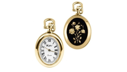Classic gold watch with enamel flowers