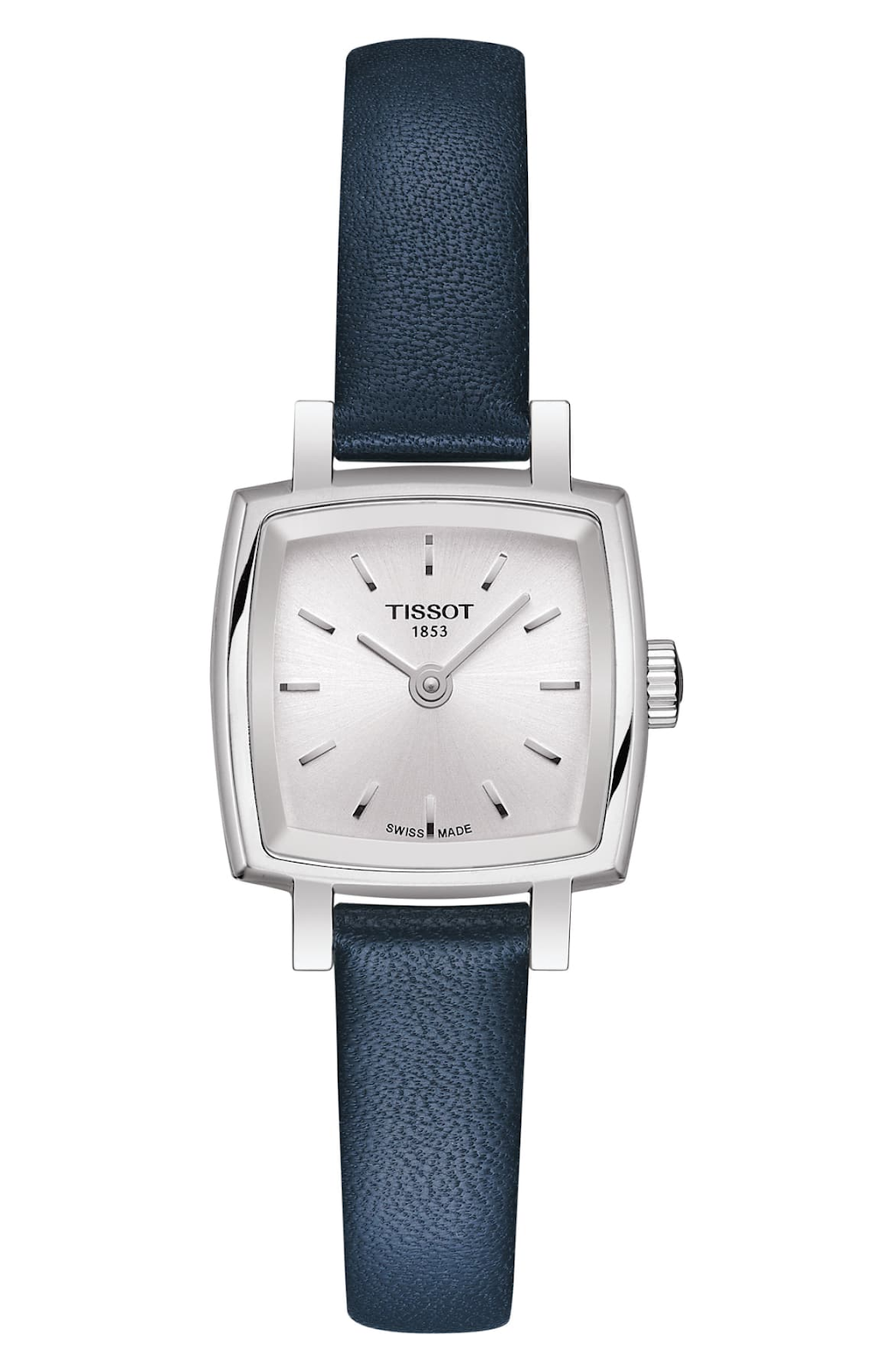 Silver faced watch with blue band