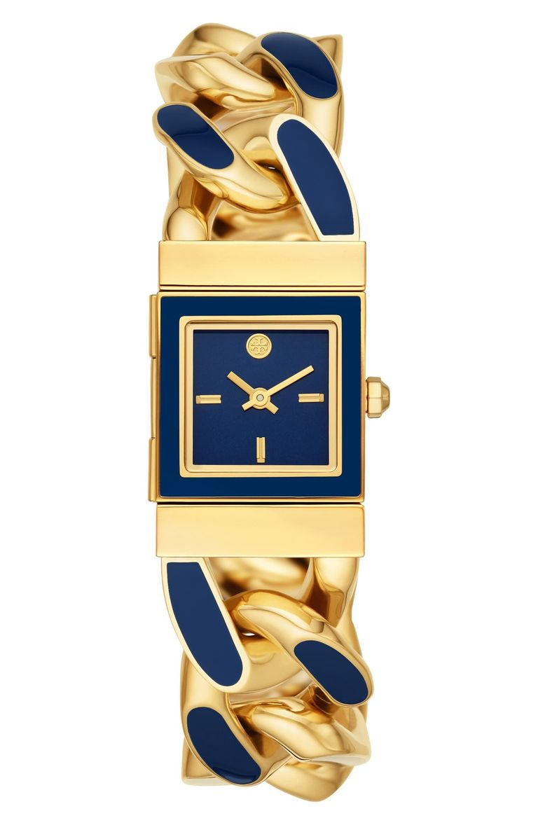 Gold watch with blue enamel and rectangular face