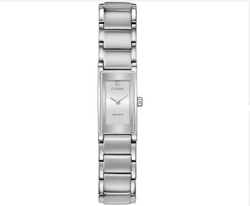 Silver rectangular watch