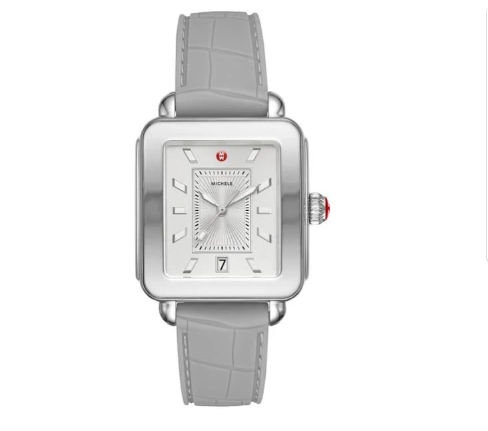 Silver rectangular face with faux leather band