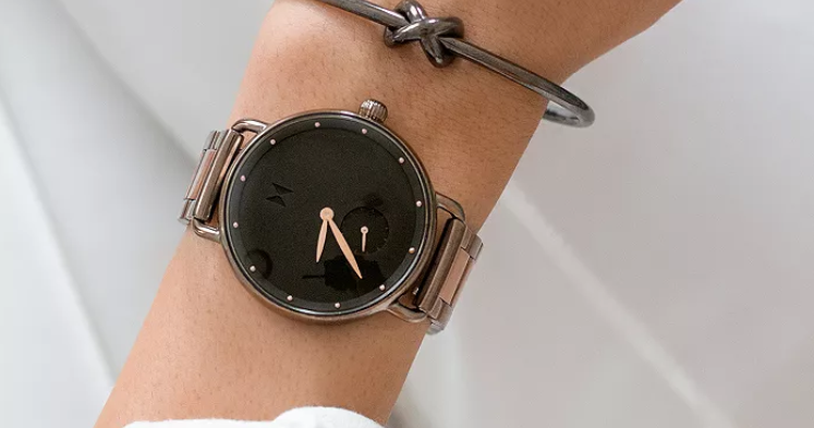 Large watch with plain black face and simple dials