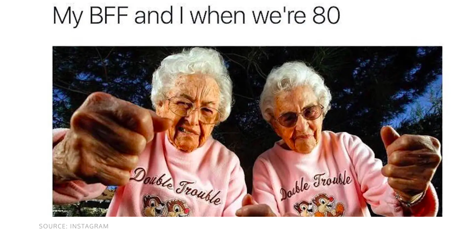 "Two 80 year old women wearing ""Double Trouble"" Chip and Dale shirts indicating their strong friendship."