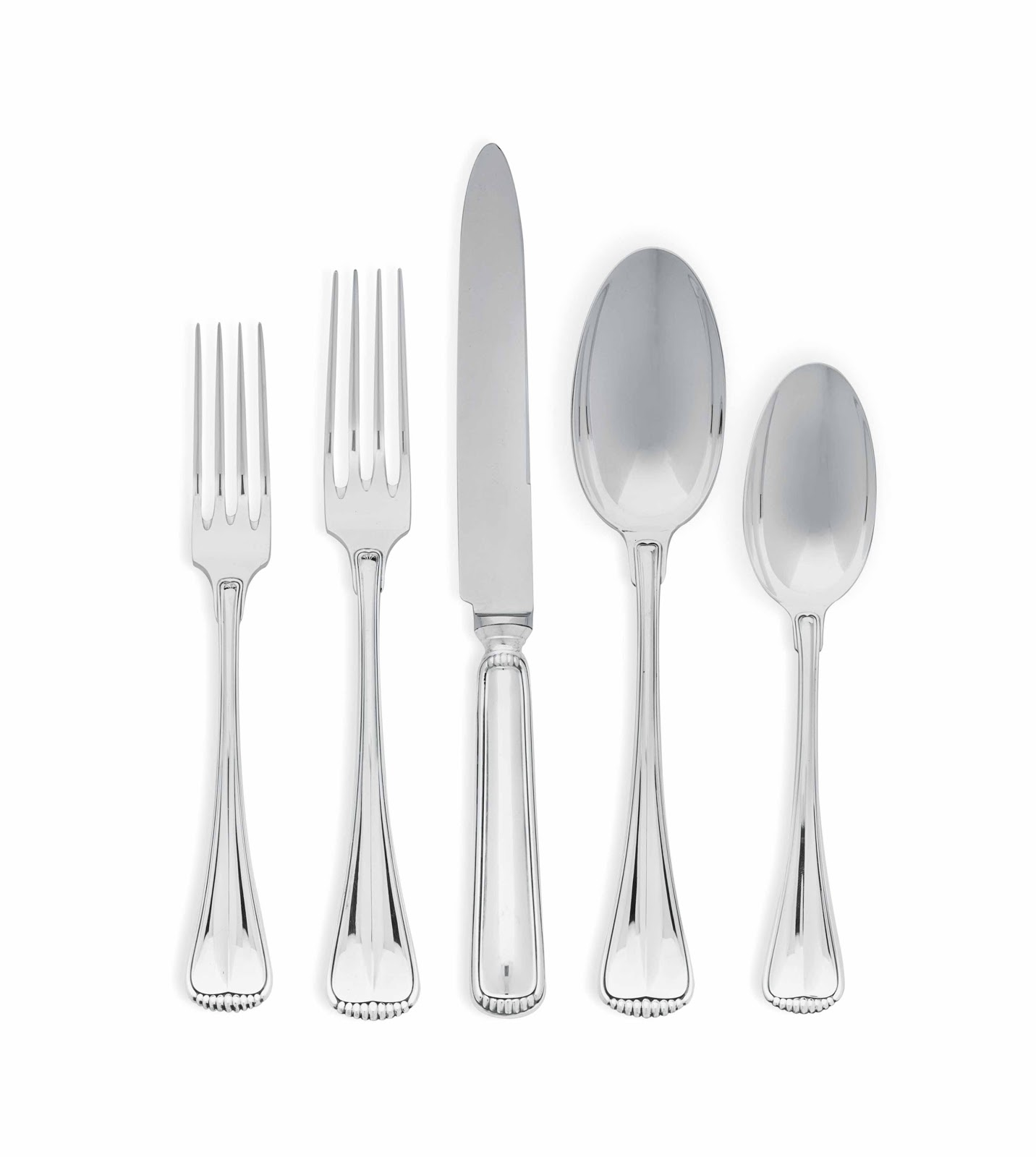 Polish your eating utensils to sparkle like this image.