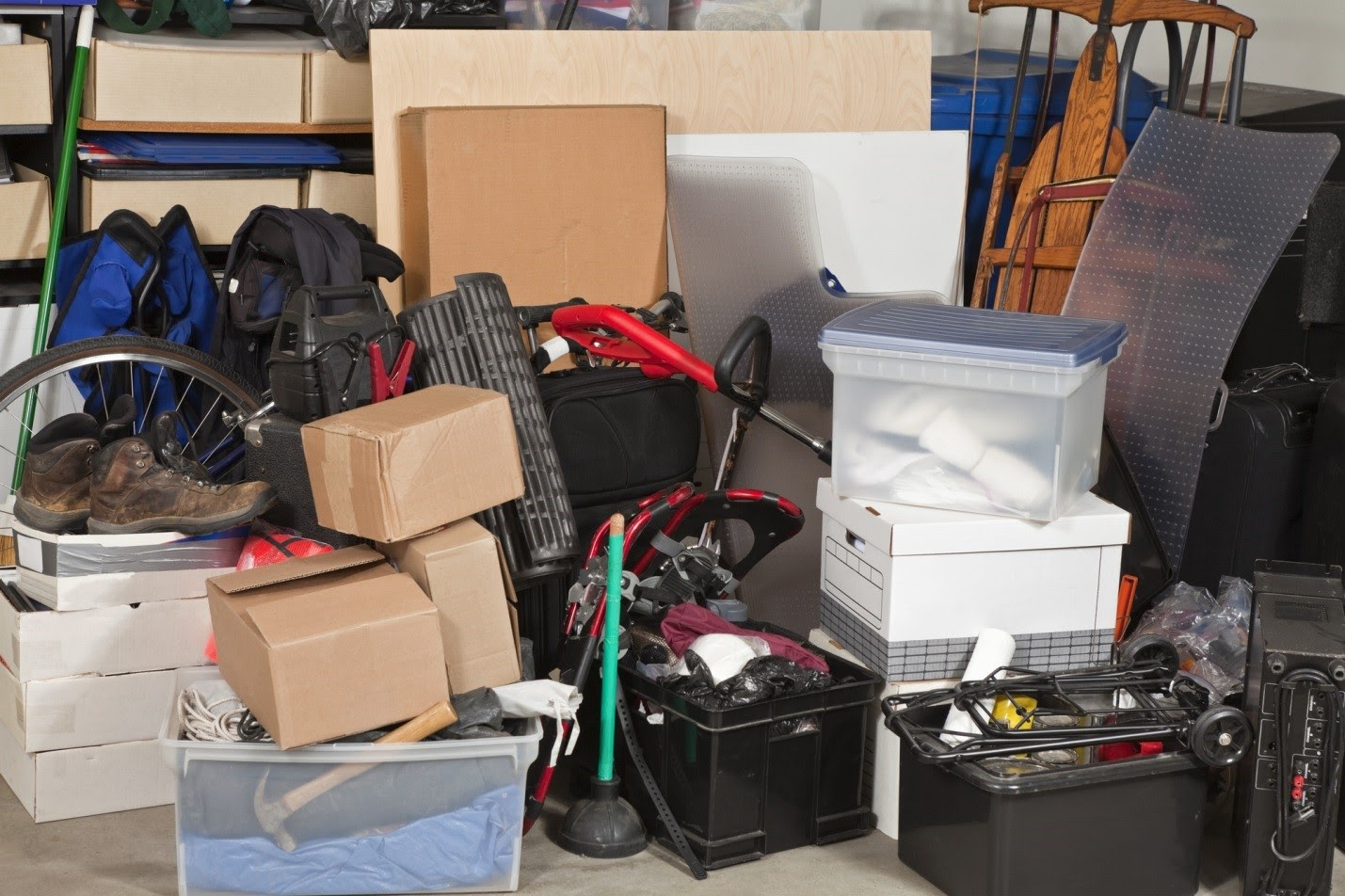 Clutter, including boxes and bins of items