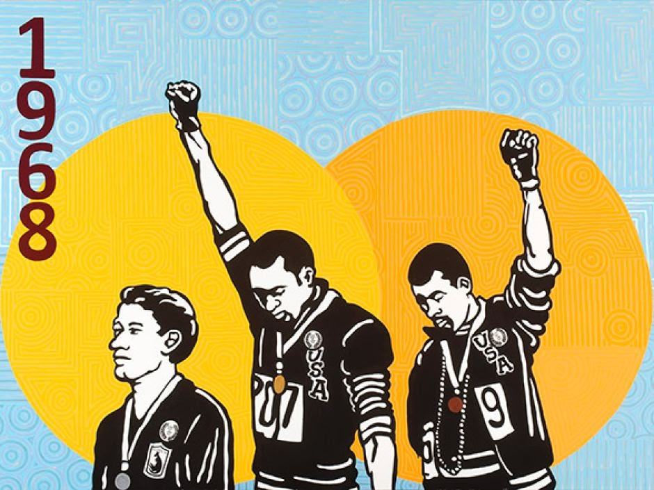 Emory Douglas' artistic depiction of the two track athletes protesting by holding up their fists at the 1968 olympics.
