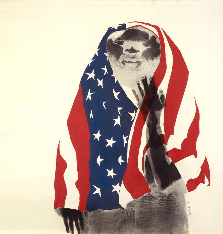 David Hammons artwork that depicts an x-ray-like negative image of a person wrapped in the American flag