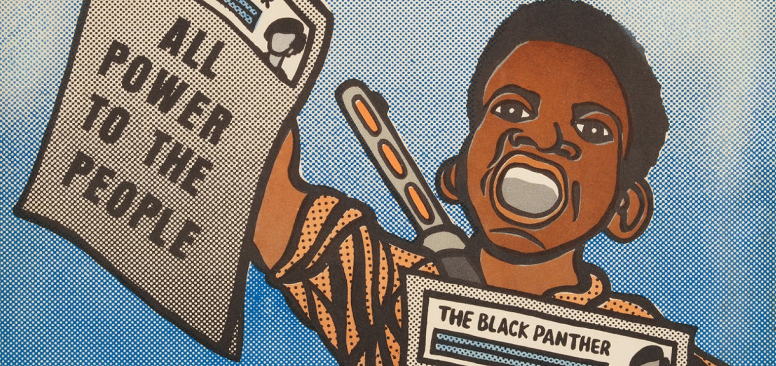 """Comic-like depiction of a young man holding newspapers that say """"all power to the people"""" and """"the Black Panther."""""""