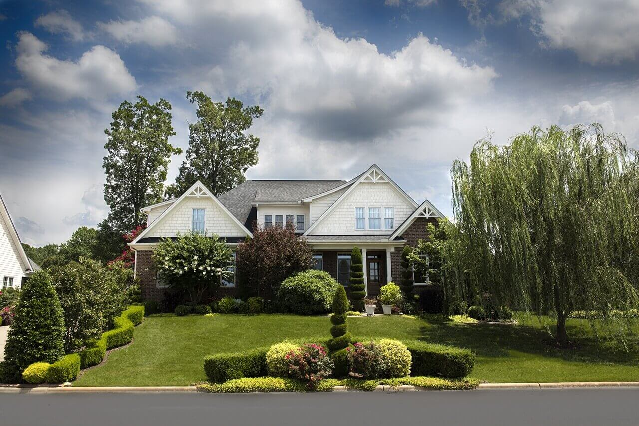 A house with great curb appeal thanks to large trees and shrubs.
