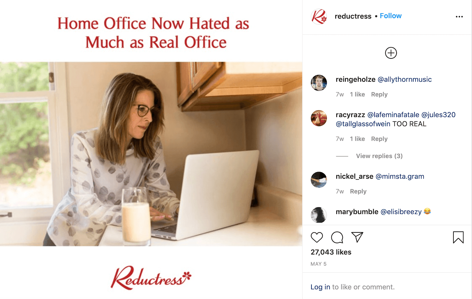 """White background with photograph of a woman on her laptop and red text saying, """"Home office now hates as much as real office."""""""