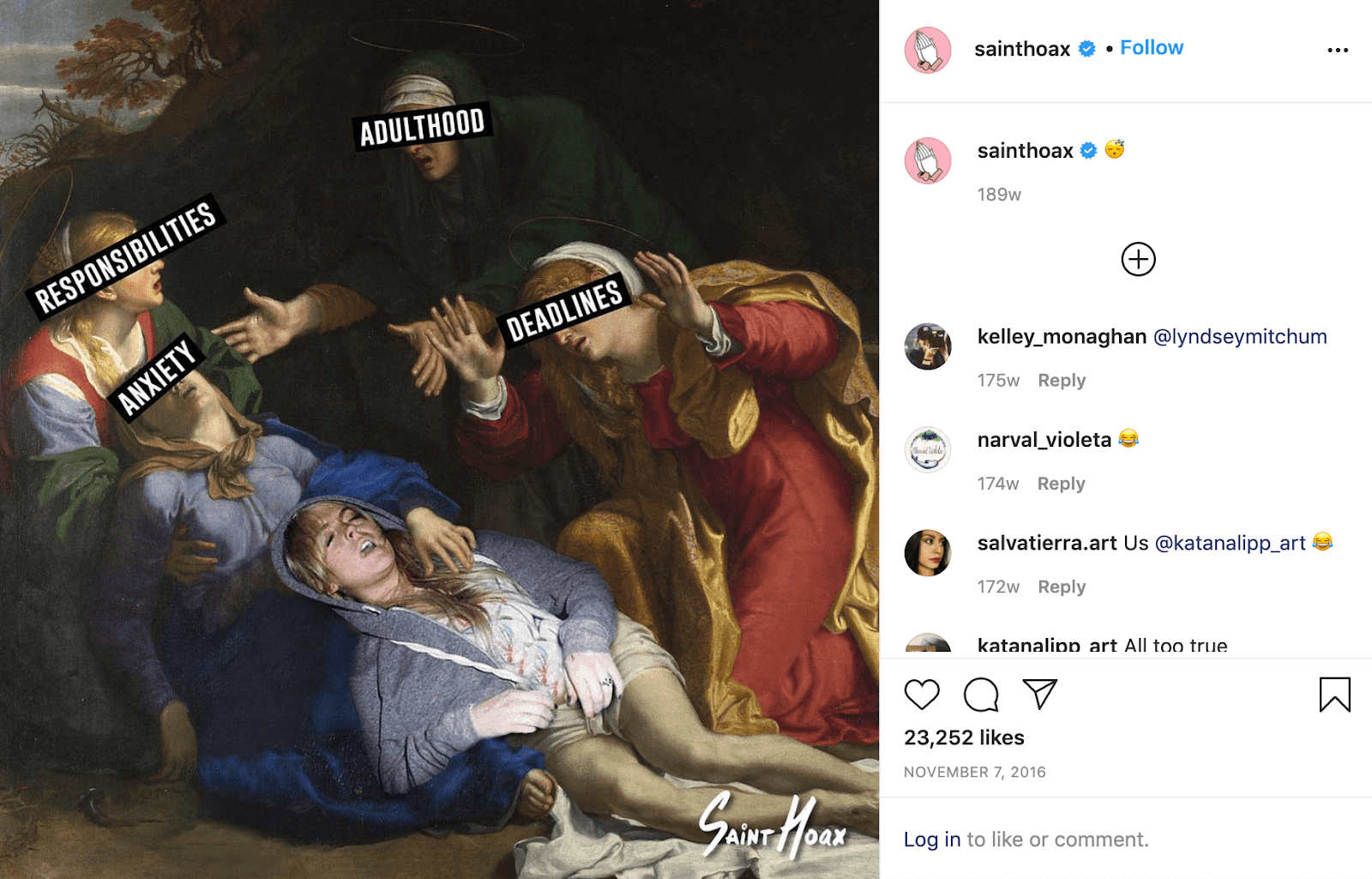 """Painting of four women huddled around an overlaid image of a sleeping Lindsay Lohan. The women around her have text over their faces saying, """"Responsibilities,"""" """"Anxiety,"""" """"Adulthood,"""" and """"Deadlines."""""""