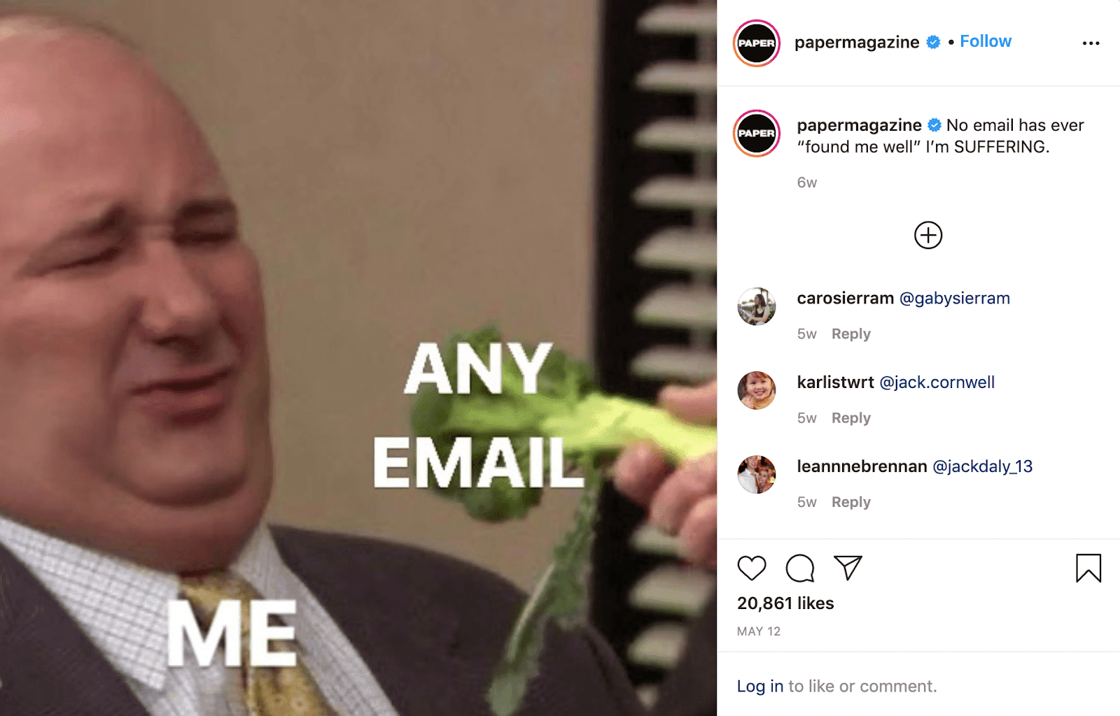 """Photo of character Kevin from """"The Office"""" making a resistant face as a hand with broccoli comes toward him. Kevin has text, """"ME,"""" on him, and broccoli has text, """"ANY EMAIL,"""" on it."""