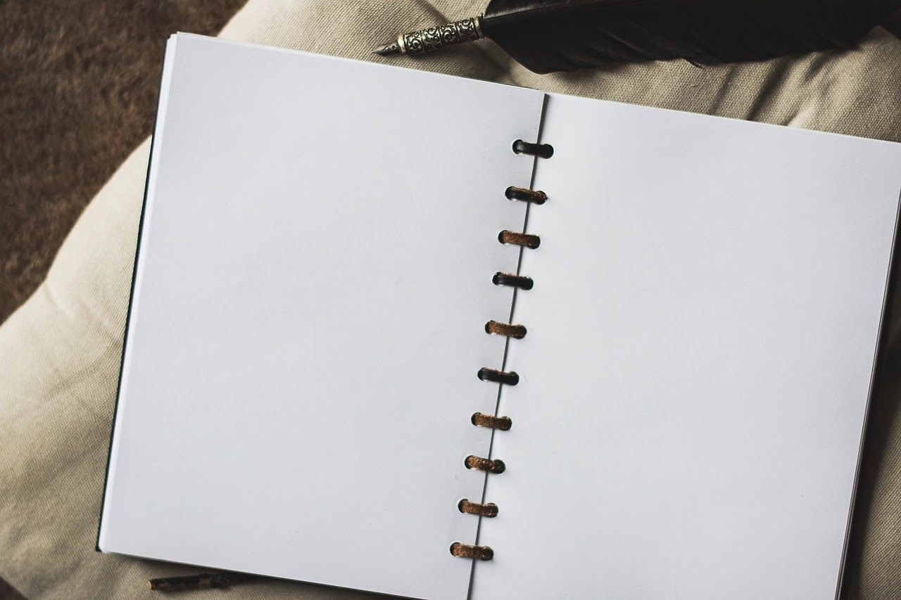 A blank page sits waiting for creative work.