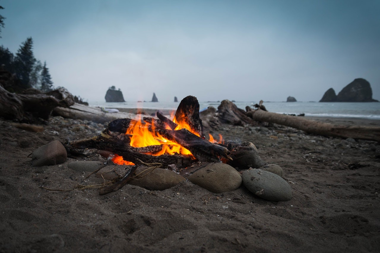 Small campfire on the beach