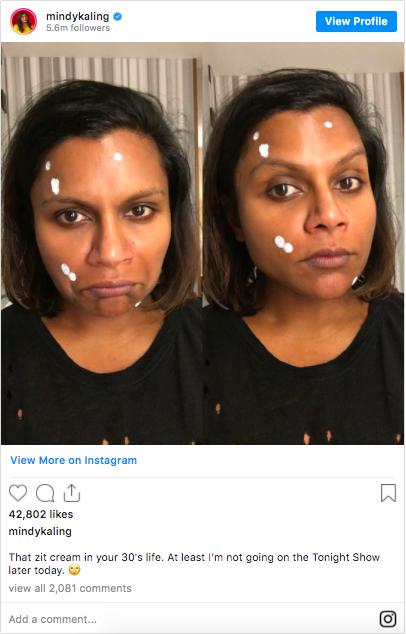 Mindy Kaling's Instagram post about acne