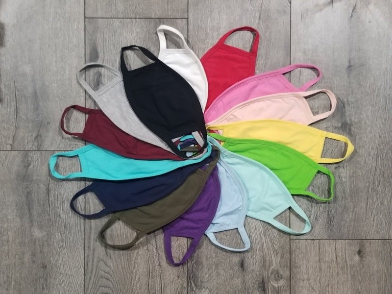A picture of multicolored face masks