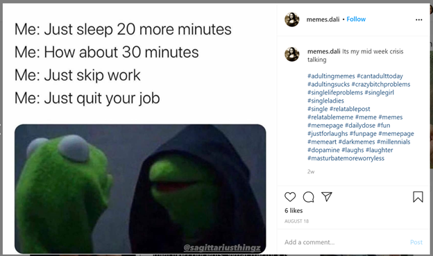 meme that depicts Kermit the Frog looking at a hooded identical frog with text that displays procrastination