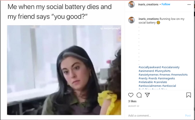 meme that says me when my social battery dies and my friend says you good? and depicts a sad woman below the text