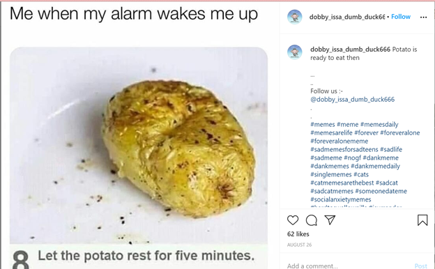Meme with a picture of a baked potato with the text me when my alarm wakes me up on the top and the text let the potato rest for five minutes on the bottom
