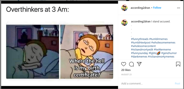 meme saying overthinkers at 3 in the morning and then there are 2 pictures, one sleeping on the left, one awake and saying where the hell is my birth certificate on the right