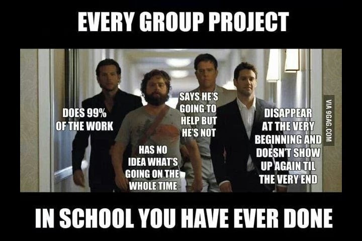 the four members of a group project, one who does all the work, one who has no idea what to do