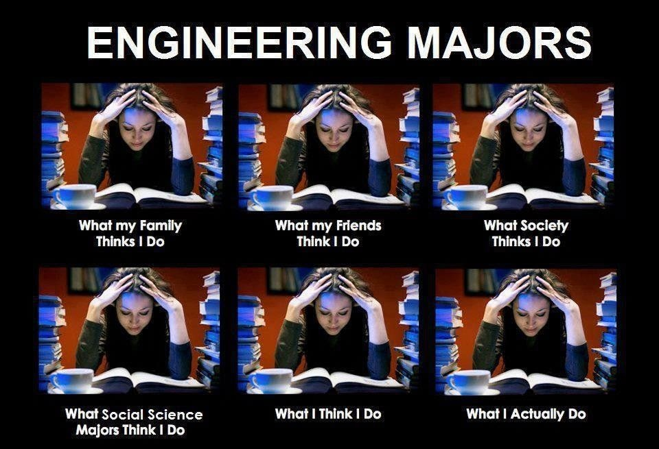 a meme showing what engineers actually do which is studying in front of a textbook