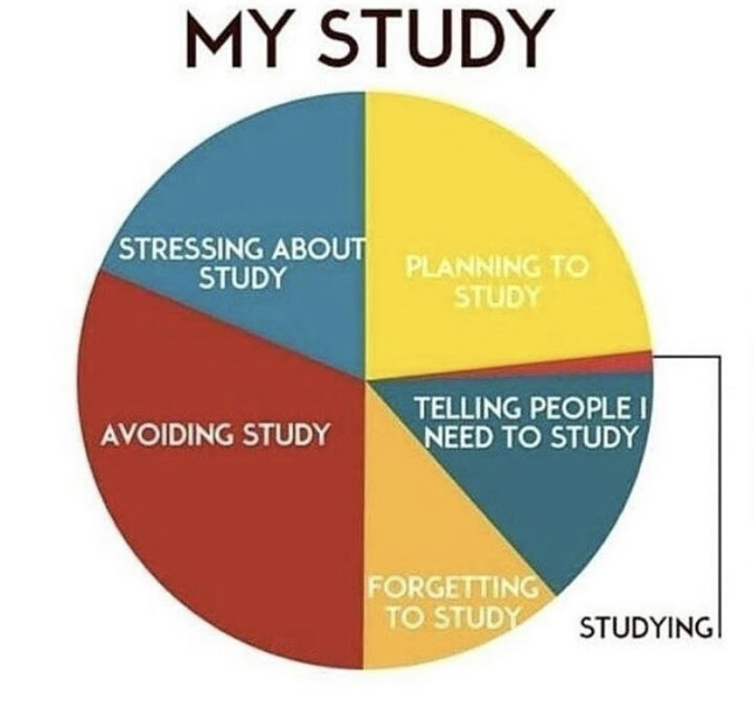 a pie chart meme of the amount of time engineers actually study versus the preparation that goes into it