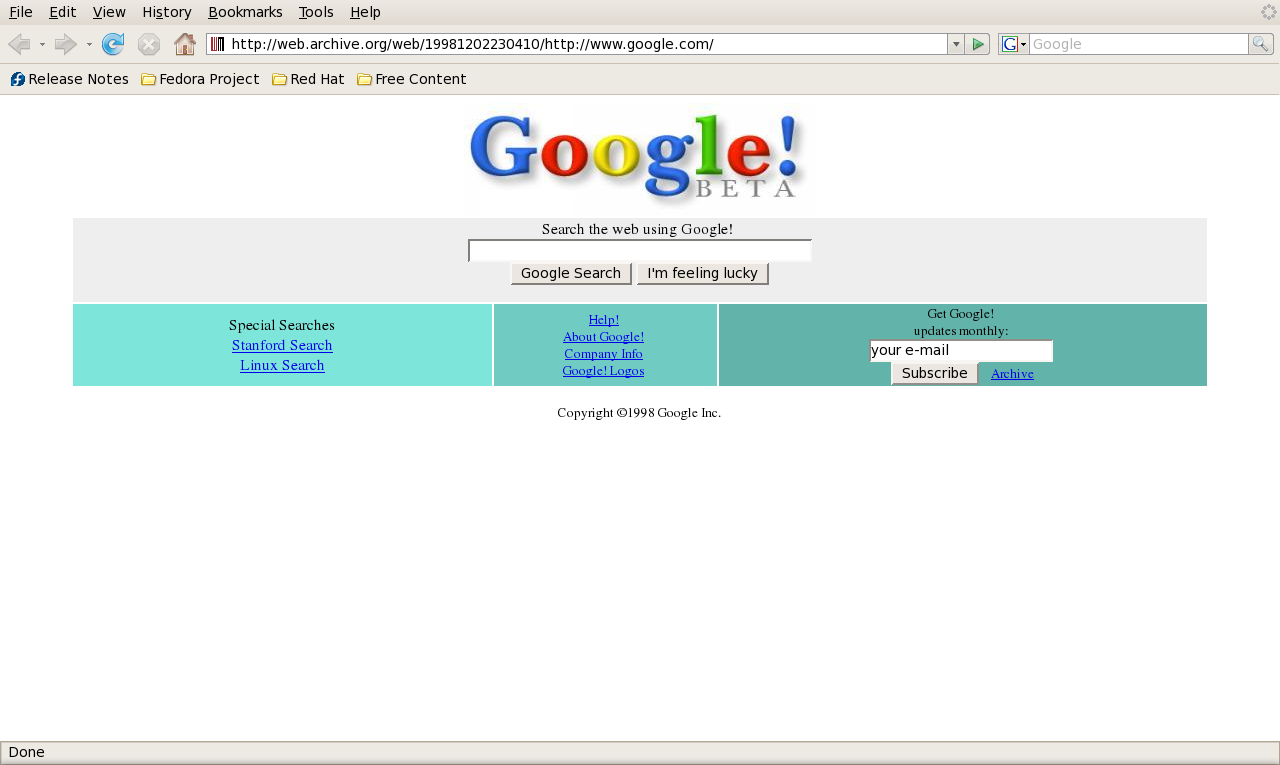 An old image of the Google homescreen.