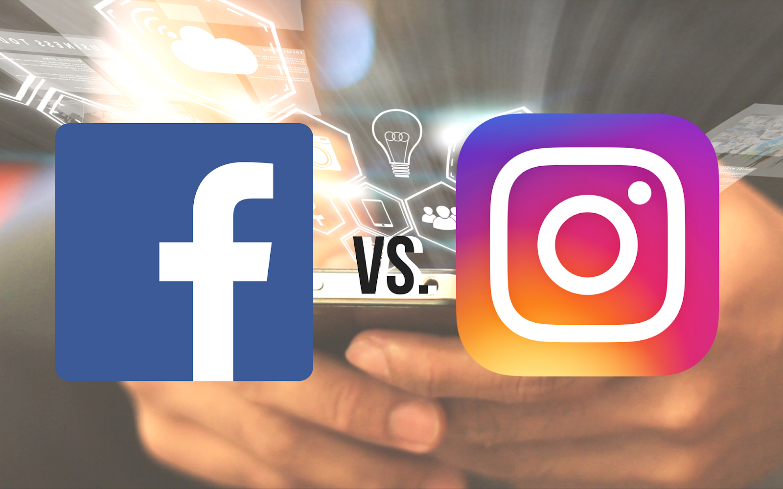 An image of the Facebook icon and the Instagram icon superimposed over someone holding a cell phone.