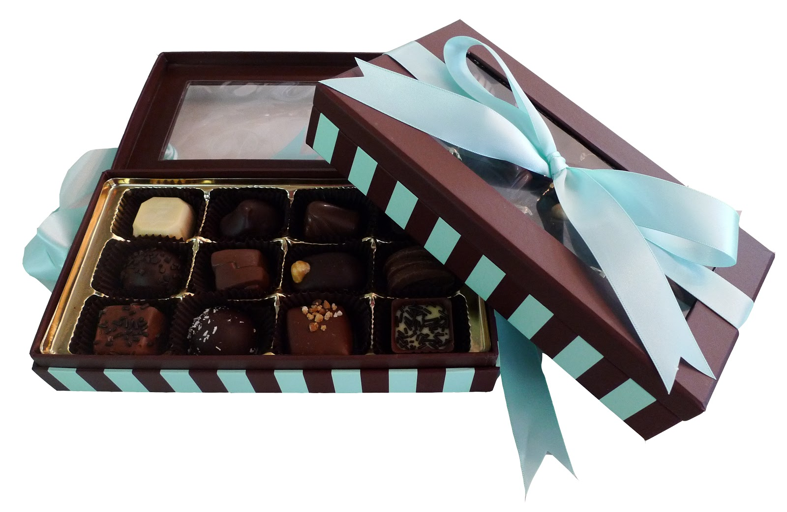 An open box of chocolates decorated with blue ribbon.