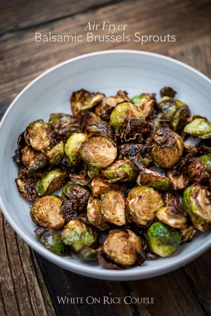 Balsamic Air fryer brussels sprouts that take minutes to make