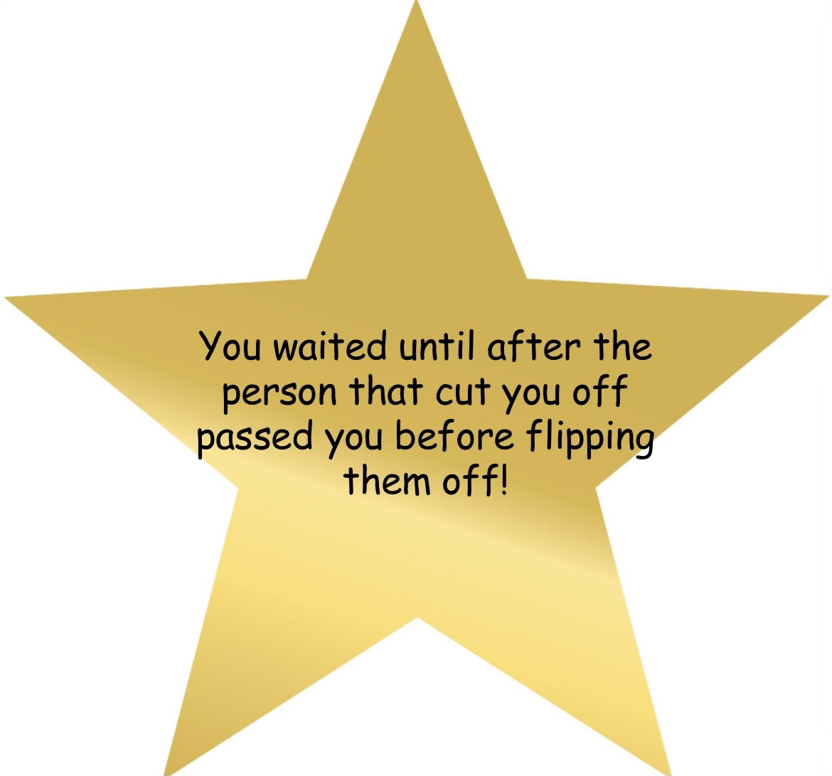 adulting award for controlling road rage and flipping off the person who cut you off after they passed