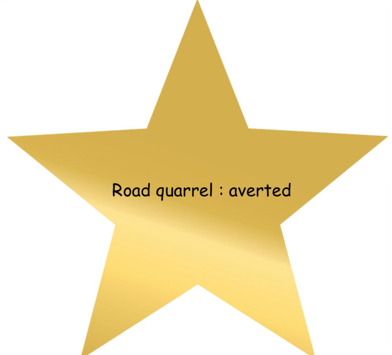 adulting award for averting a road quarrel