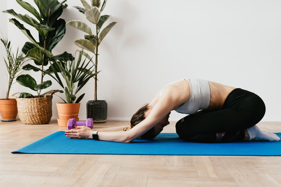 Child's pose is a great way to destress and relax