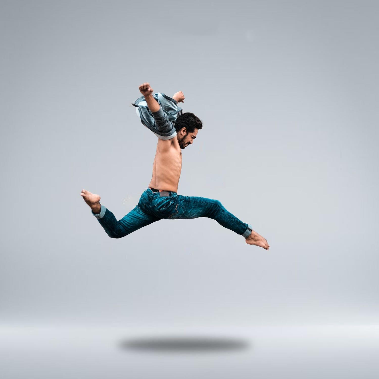 A man leaping through the air.