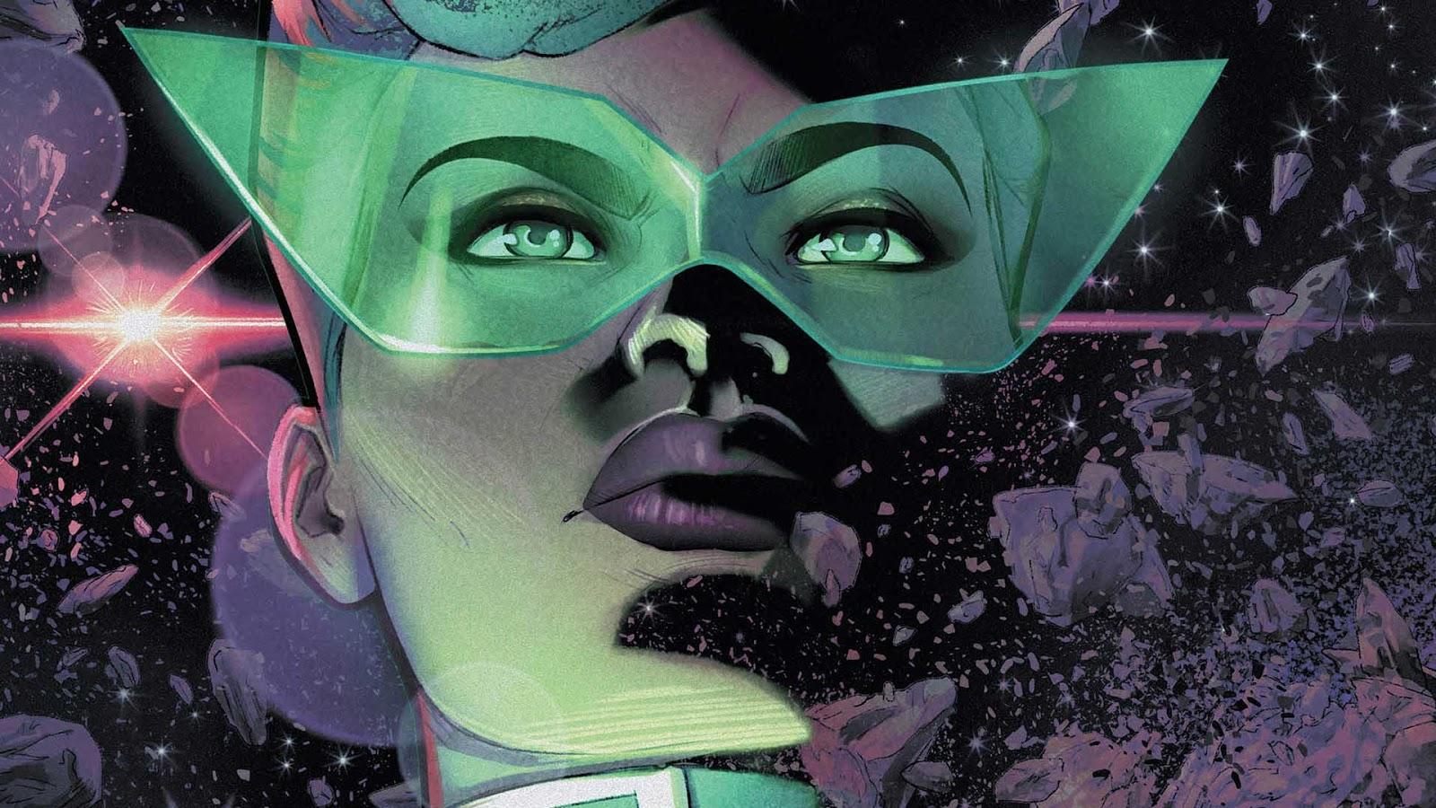 "A face shot of ""Jo"" Sojourner the Green Lantern of Jemisin's comic-series. She's wearing giant green glasses."