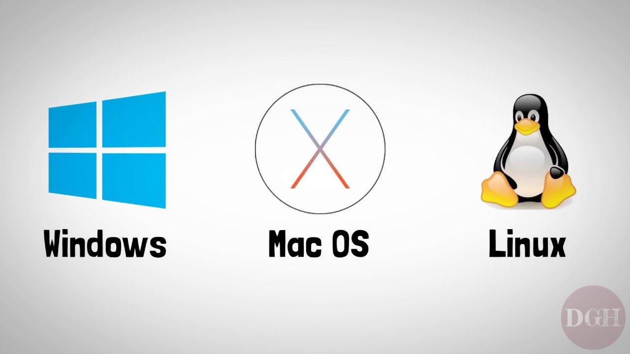 The three popular computer operating systems: Windows, MacOS, and Linux