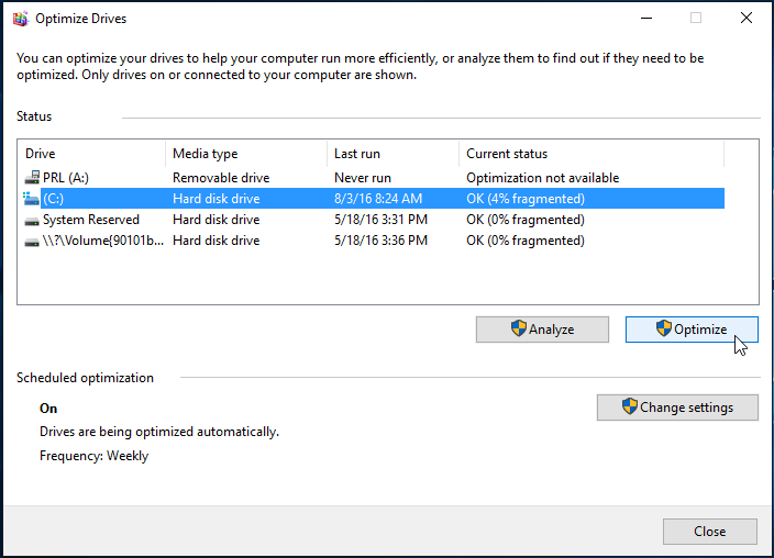The optimize drives window on a Windows computer