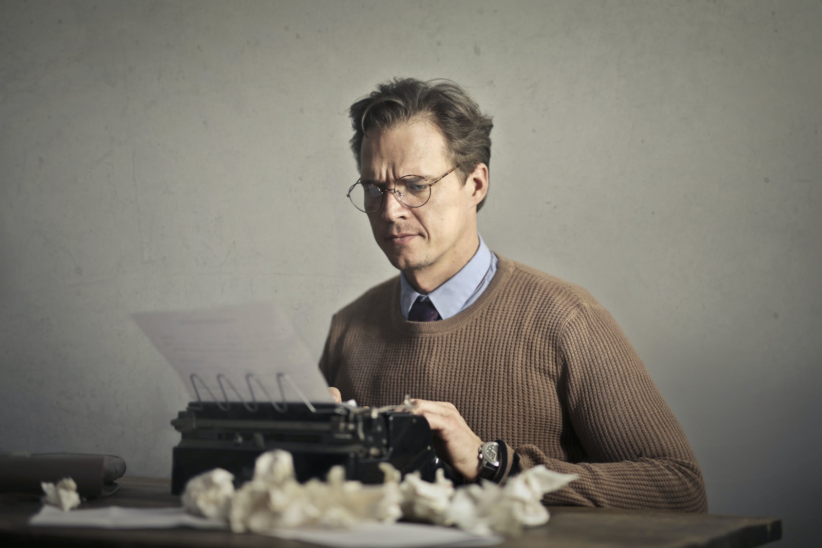 Fiction writer writes away to perfect his craft.