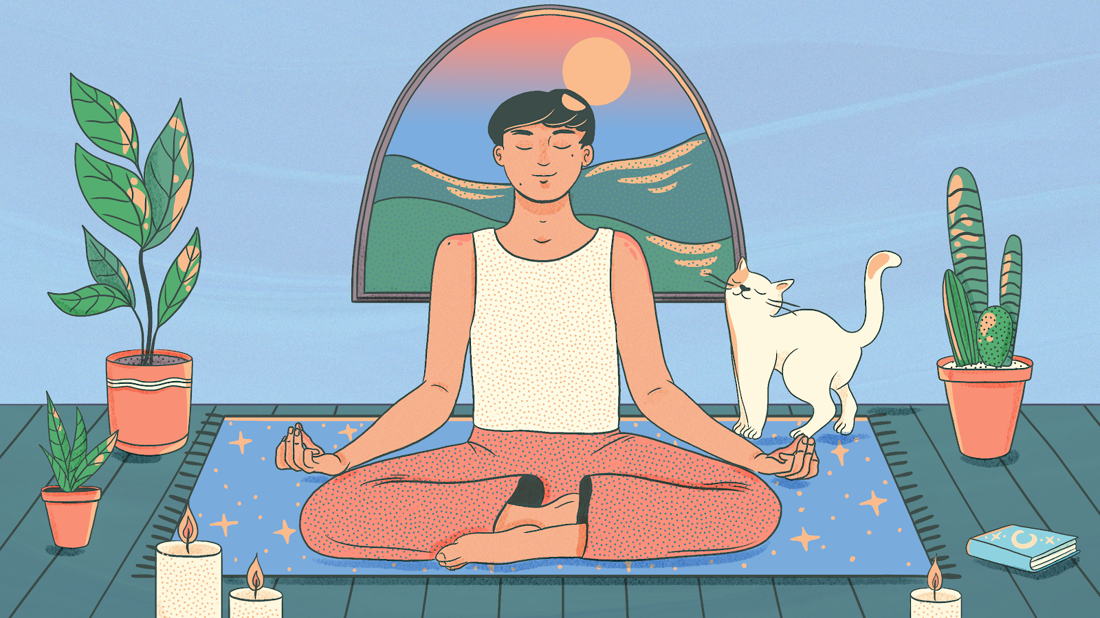 Cartoon man meditates in the morning.
