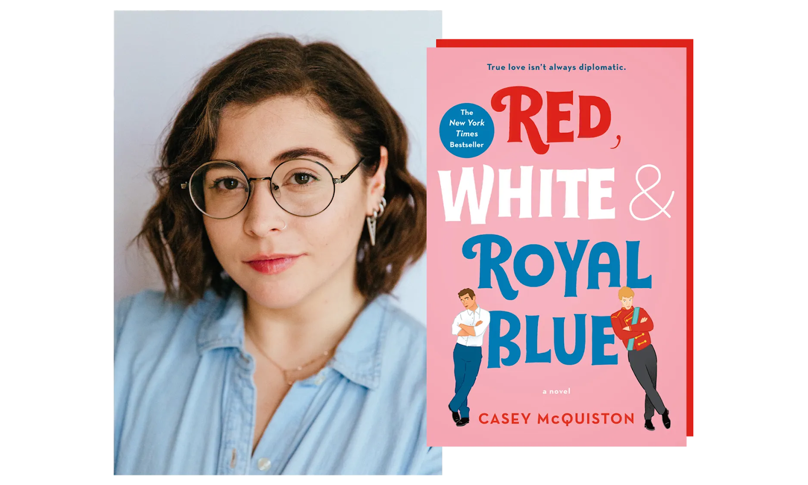 Casey McQuiston and the cover of her novel Red, White & Royal Blue