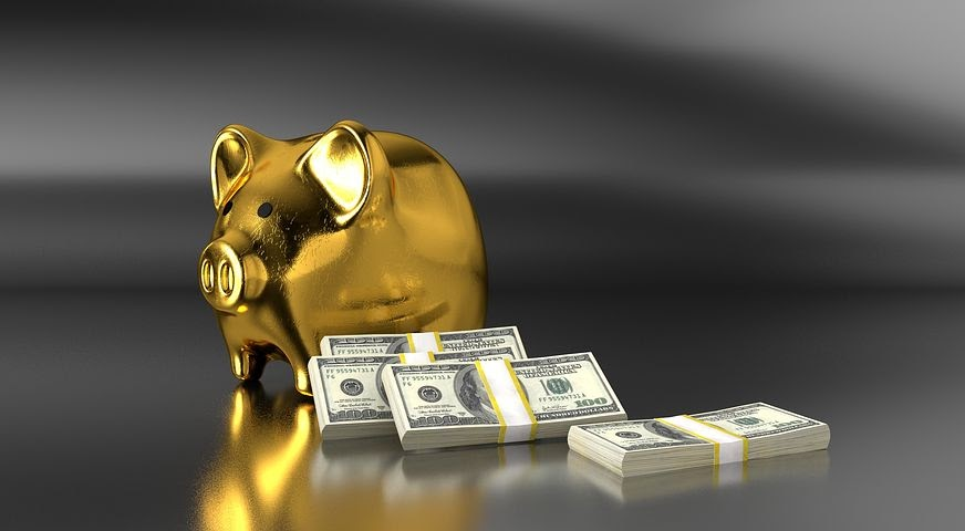 a piggy bank surrounded by cash savings