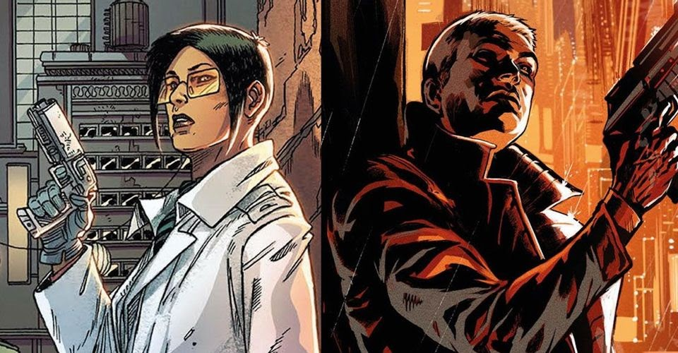 Comic cover, one one side a woman with a gun in a white lab coat. Other side a man cloaked in orange with a gun.