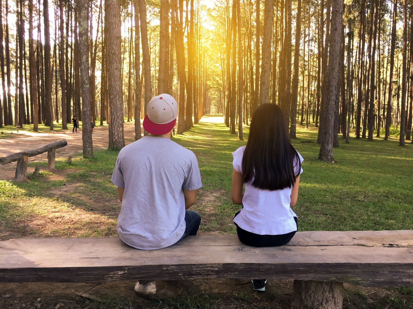 Boy and girl sitting on a bench in a forest looking at the sunset.