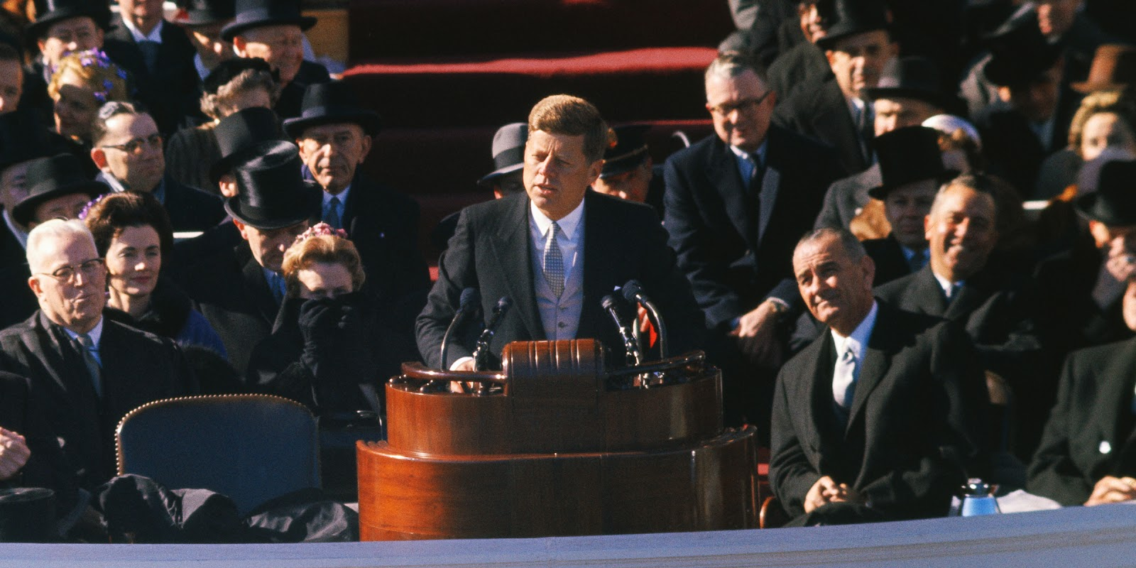 The late President John F. Kennedy delivers his inaugural address.