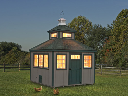 Evening landscape of a large chicken coop with chickens outside