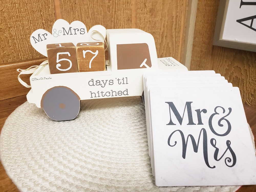 Cute home decor for the bride or groom to be!