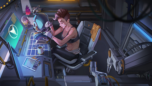 Quinn Hicks of Space Corps fixes her Scanning Device