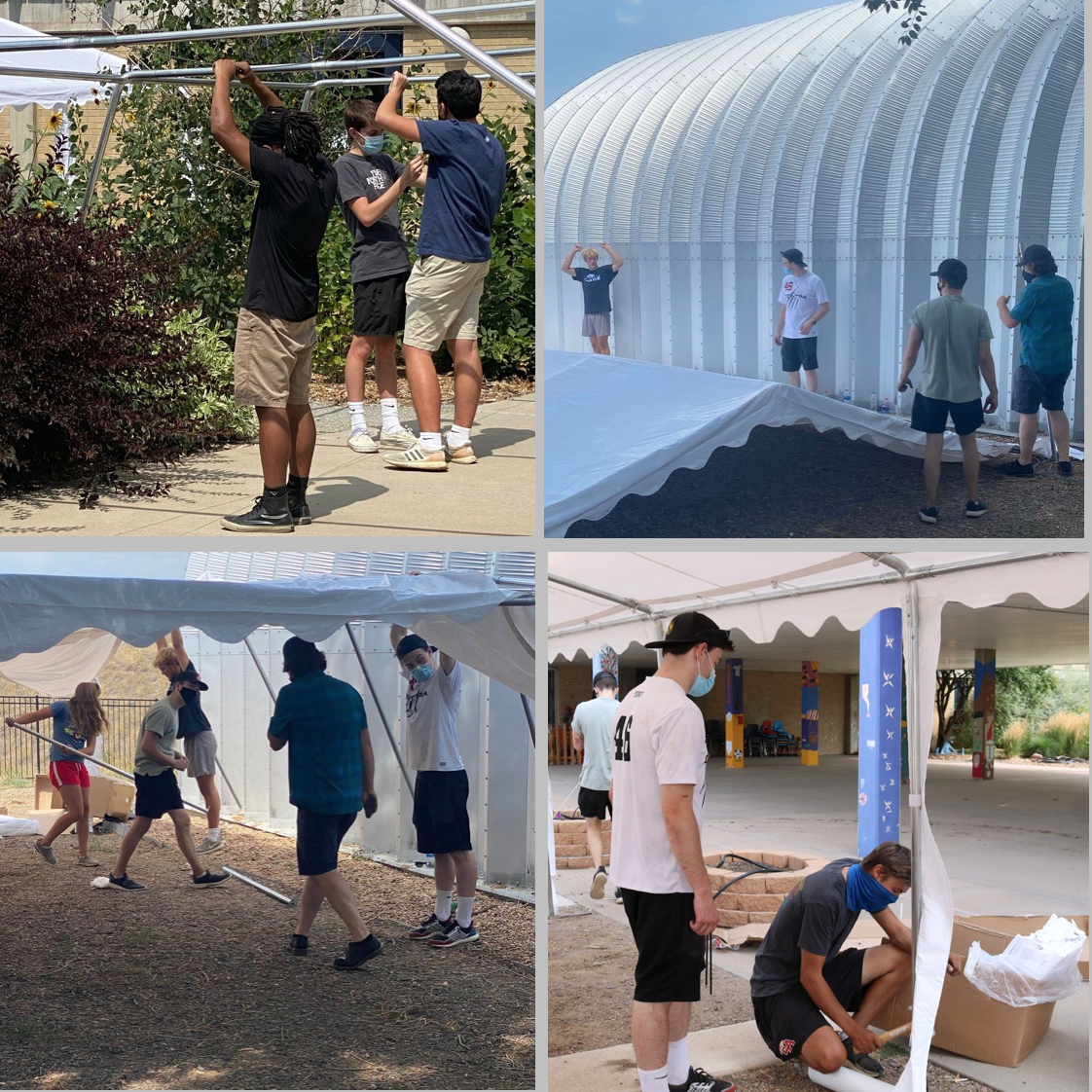 students working outside